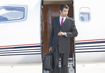 Picture of a man on a private jet