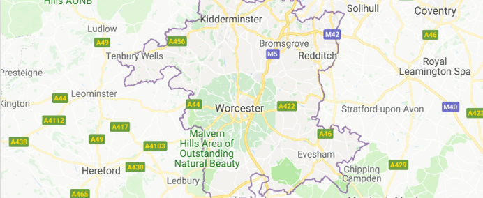 Image of Worcestershire on Google Maps