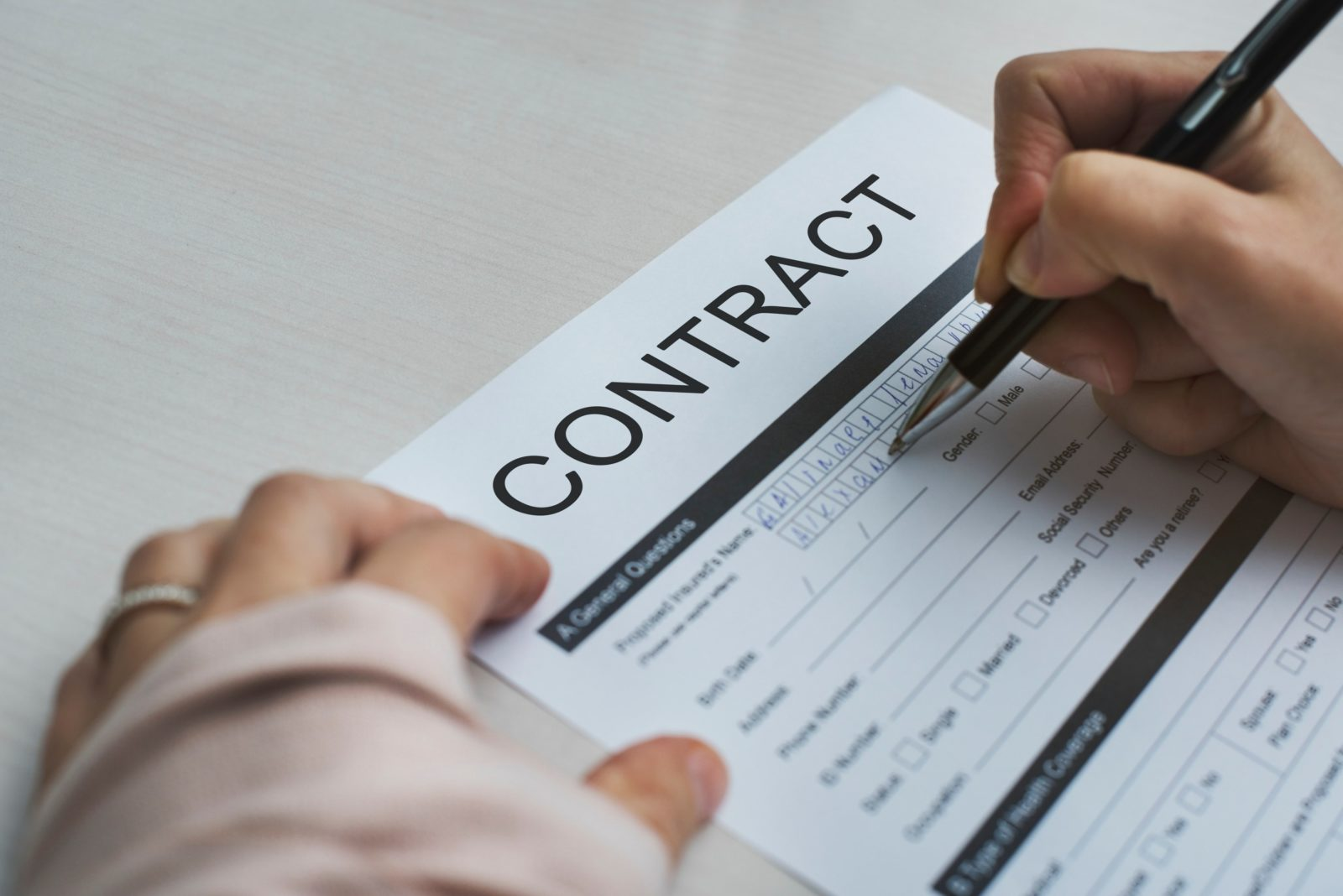 Image of a contract.
