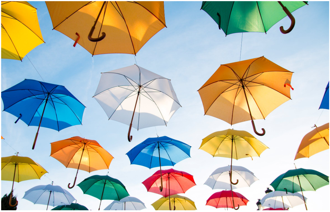 A large image of umbrellas