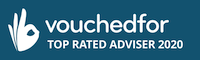 Image of the SJ Financial Solution's VouchedFor Top Rated Advisor 2020 award.